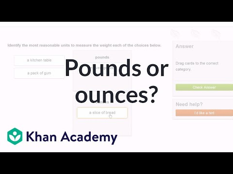 Choose pounds or ounces to measure weight (video) | Khan Academy