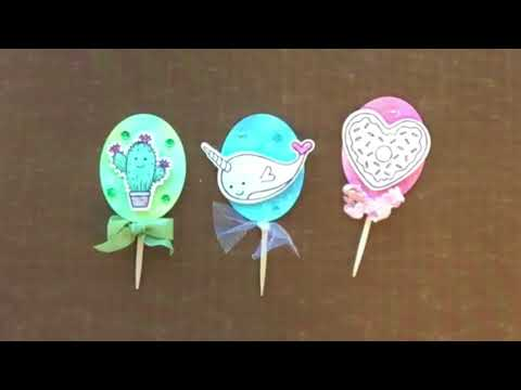 Fast And Easy Stamped Narwhal, Heart Donuts, And Cacti Cupcake Toppers| Sizzix