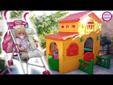 La nueva Sillita de paseo y la Casa de juguete de jardín para niños - Lindea mi bebé Reborn