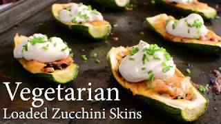 Keto Vegetarian Loaded Zucchini Skins