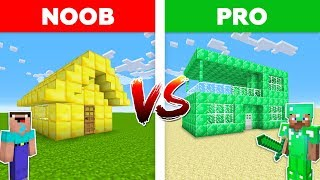 Minecraft NOOB vs PRO: EMERALD HOUSE vs GOLD HOUSE in Minecraft!