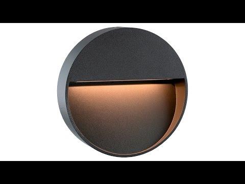 SSC-LUXon LED Wandleuchte Morava - Rund anthrazit für den Außenbereich 360° Video