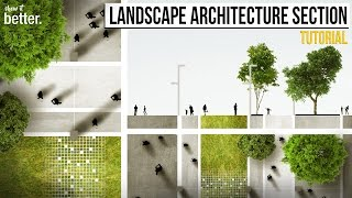 Landscape Architecture Section And Plan In Photoshop Tutorial