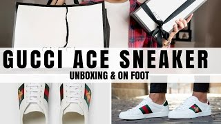 Mens Gucci Ace Sneaker Unboxing & On Foot