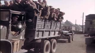 German prisoners marching through streets in Germany under guard of Allied forces...HD Stock Footage