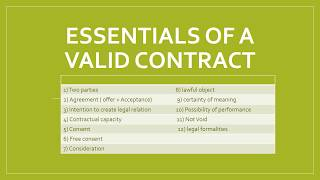 valid contract and its essential elements