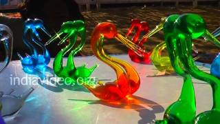 Colourful glass menagerie are being sold here