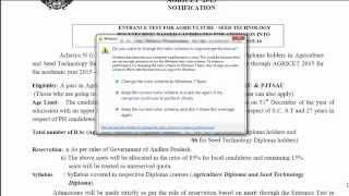 AP AGRICET-2015 APPLICATION form DETAILS -1| అగ్రిసెట్ -2015 పరీక్ష వివరాలు -1