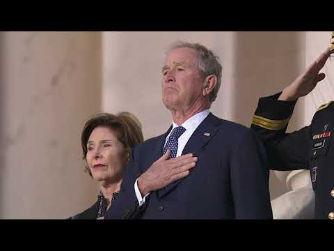 The casket carrying the remains of George H.W. Bush has arrived at the U.S. Capitol for the nation to begin its formal farewell to the 41st president. The president's remains will lie in state in the Capitol Rotunda until Wednesday morning. (Dec. 3)