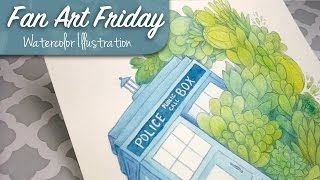 Succulents In Space // Doctor Who Watercolor Illustration // Fan Art Friday