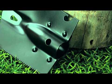 6in1-Multi-Werkzeug-Spaten für Outdoor mit Messer, Säge, Beil & Co.