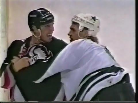 Derian Hatcher vs Matthew Barnaby & Sabres vs Stars line brawl 1997