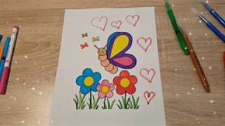 Coloring Butterfly / Flowers / Coloring Pages For Kids /how To Color