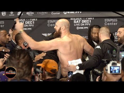 Tyson Fury Rips Off His Shirt & Goes After Deontay Wilder During Wild Press Conference