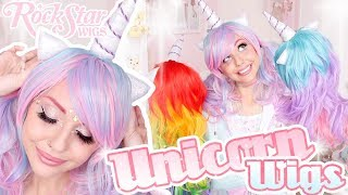 TRYING ON UNICORN WIGS! | RockStar Wigs Unicorn Collection Wig Review