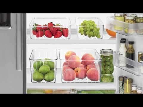 Vented Fridge Storage Bin Basket for Fruits and Vegetables - mDesign