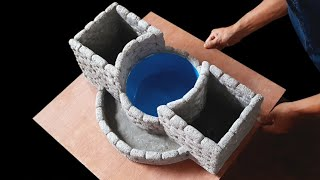 Flower Pot Making From Styrofoam And Cement With Water Tank   How To Make Flower Pot