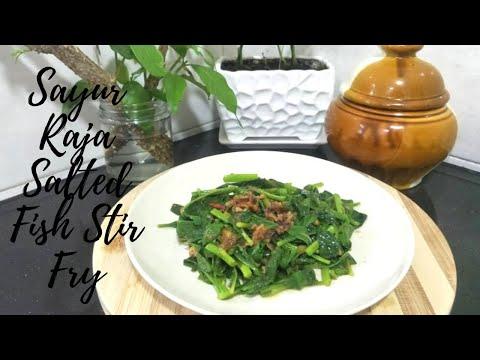 5 Minutes Cooking Recipe I Sayur Raja Salted Fish Stir Fry Recipe