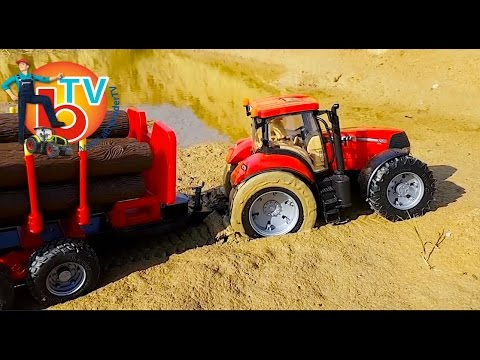 BRUDER RC Traktor Case stuck in the mud!