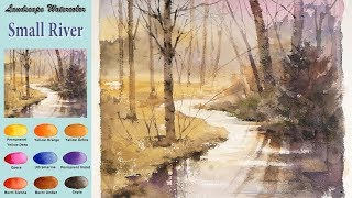 Without Sketch Landscape Watercolor - Small River (wet-in-wet, Arches rough) NAMIL ART