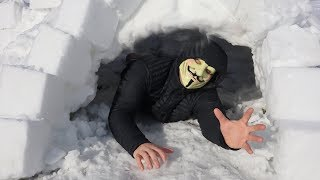 Hacker trapped In the Snow!!  Getting Chased by Project Zorgo with Epic snow ninja fight!
