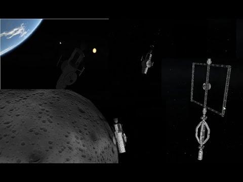 KSP - Launching 3 ground scan satelites and 2 station parts around Minmus