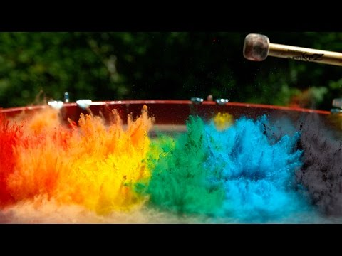 Paint on a Drum in 4K Slow Mo - The Slow Mo Guys