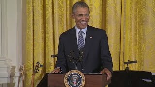 President Obama Welcomes the Broadway Cast of