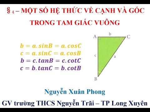 §4. Một số hệ thức về cạnh và góc trong tam giác vuông