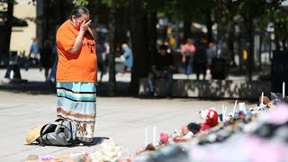 video: Watch: Tributes paid to children found buried at indigenous school site as 215 bodies found in Canada