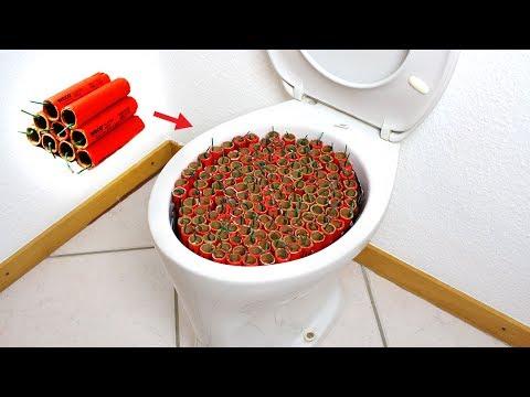Toilette mit 200 Böllern sprengen!