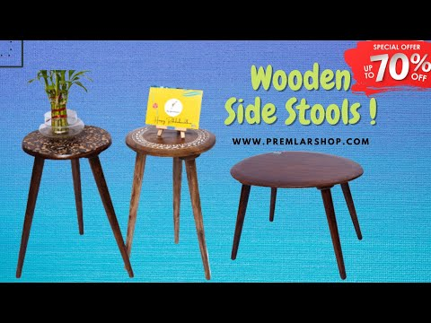 Popular Multipurpose Wooden Side Stool/side Table ( Natural Finish, Round)