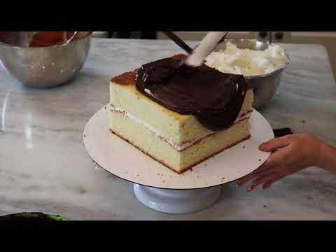 How to cover a square cake in fondant and ganache