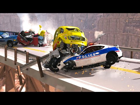 BRIDGE PILE UP & COLLAPSE CRASHES #6 - BeamNG Drive | CRASHdriven