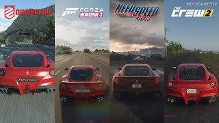 DriveClub vs Forza Horizon 3 vs NFS Rivals vs The Crew 2 - Ferrari F12berlinetta Sound Comparison