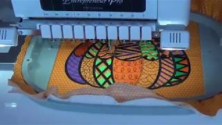 OML Vlog stitching a beautiful blackwork pumpkin by Embroidery Library