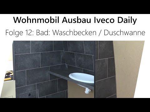 Wohnmobil-Selbstausbau Iveco Daily Teil 12 - Waschbecken und Duschwanne
