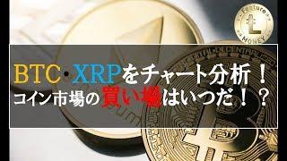 仮想通貨News:本日急騰!?BTC・XRPをチャート分析!コイン市場の買い場はいつ!?