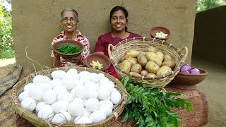 Potato and Egg Balls prepared in my Village by Grandma and Daughter ❤ Village Life