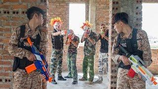 MASK Nerf War : Two Police Mask Nerf Guns Special Mission Fight Dangerous Criminals