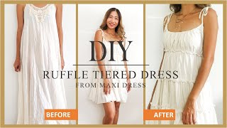 DIY Ruffle Tiered Dress From Old Maxi Dress - Refashion Idea For Summer Dress