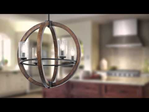 Video for Grand Bank Eight-Light Auburn Stained Finish Island Pendant