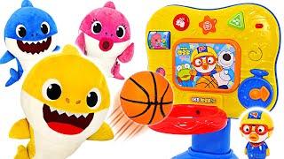 Pinkfong, play fun basketball with the shark family~ Pororo EQ basketball play | PinkyPopTOY