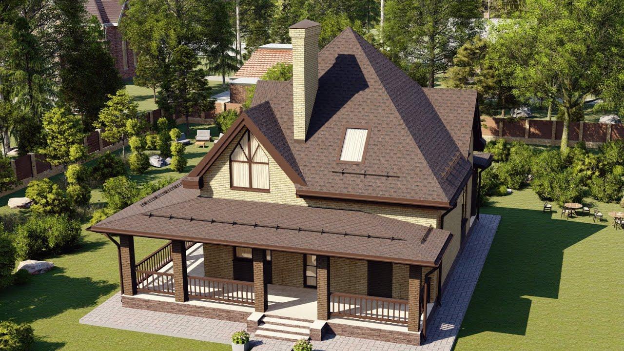 Красивый современный дом из пеноблока с террасой