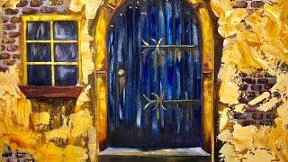 Old Blue Door With Stucco Beginners Acrylic Painting Tutorial #bigartquest | TheArtSherpa