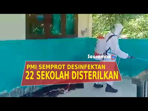 VIDEO - PMI Simeulue Semprot Desinfektan di Sarana Sekolah