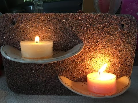 Beton Kerzenhalter selbstgemacht /Teller Design Upcycling