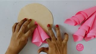 EASY PAPER FLOWER WALL DECOR | BEST FROM WASTE INVITATION CARD CRAFT