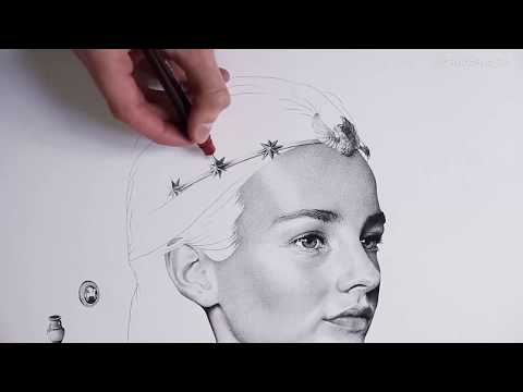 Gorgeous Realistic Portrait Made by Drawing Dots