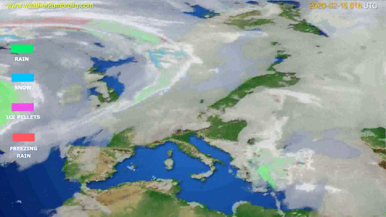 Precipitation forecast Europe // modelrun: 12h UTC 2020-02-13